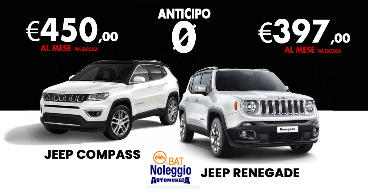 Jeep Compass & Jeep Renegade noleggio lungo termine senza an